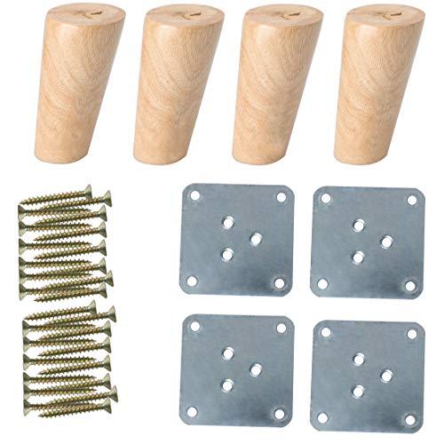 Sourcingmap - Patas de madera maciza para muebles, sofás, bancos, sillas, escritorios, armarios, muebles, ajustadores de repuesto