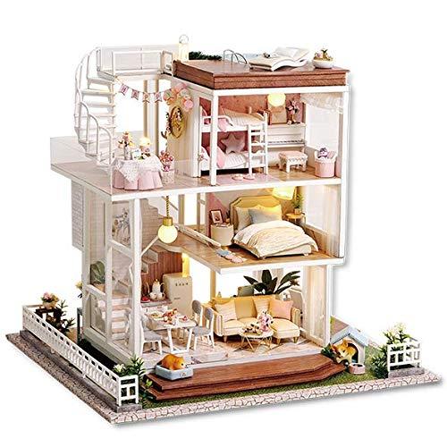 Fsolis Miniatura casa delle Bambole con mobili,3D Fai da Te Kit di Dollhouse di Legno Oltre a Prova di Polvere e Il Movimento della Musica Regalo Creativo A77