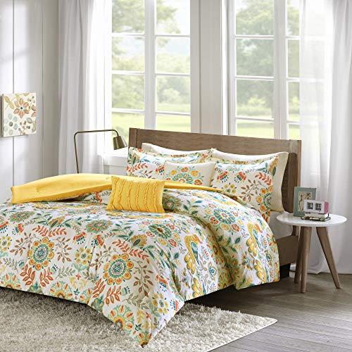 Intelligent Design ID10-727 Comforter Set Vibrant Floral Design, Teen Bedding for Girls Bedroom Mathcing Sham, Decorative Pillow, Twin/Twin X-Large, Nina Multi, 4 Piece