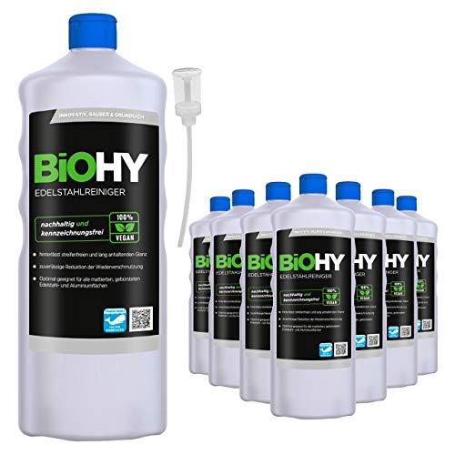 BiOHY Edelstahlreiniger (9x1l Flasche) + Dosierer | Edelstahlpflege für neuen, streifenfreien Glanz | Schutz gegen Fingerabdrücke, Schmierflecken etc. | schonend und nachhaltig