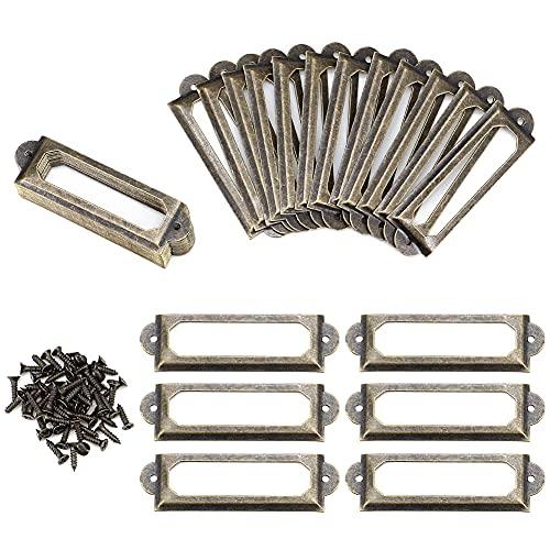 Paor 50Pcs Etiketten-Kartenrahmenhalter Bücherregale Regal Schubladenschrank 60 x 17mm Antik Bronze Eisen