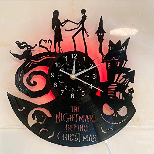 YHMJ Wanduhr Aus Vinyl Schallplattenuhr,Handmade The Nightmare Before Christmas Themed Rekord Wanduhren,LED 7 Farbe leuchtende Uhr,kreative Halloween Geschenkauswahl für Freunde,mit LED,1