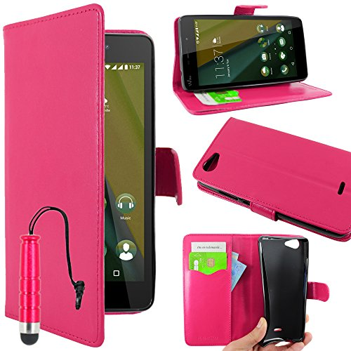 ebestStar - kompatibel mit Wiko Pulp Fab 4G Hülle Kunstleder Wallet Hülle Handyhülle [PU Leder], Kartenfächern, Standfunktion + Mini Stift, Pink [Phone: 155.4 x 79.3 x 8.5mm, 5.5'']