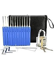 IPSXP Juego De Ganzuas, 26 Piezas Incluir Cerraduras Transparente de Capacitación en Bolsa de Cuero Portátil, Lock Pick Set de Extracción para Principiantes y Cerrajeros Profesionales