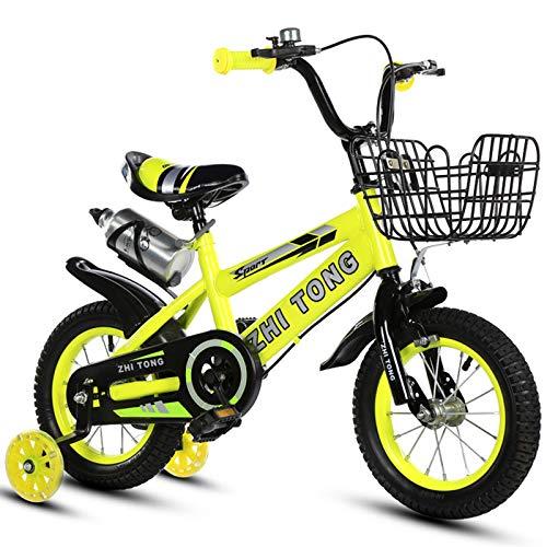 ZGF Bicicleta Infantil, 12 14 16 18 Pulgadas Bicicleta para niños con Ruedas de Entrenamiento para niñas de 2 a 7 años de 27 a 35 Pulgadas de Alto, Bicicleta para niños pequeños,Amarillo,14