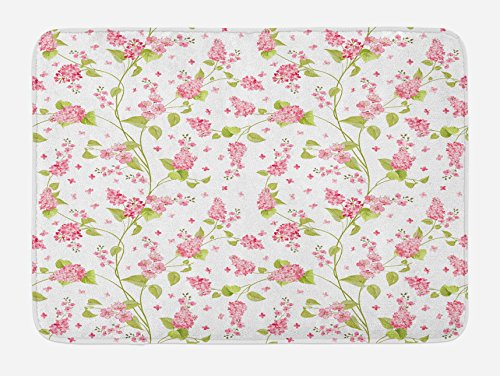 Ambesonne Shabby Chic Bath Mat, Nature Blossoms Buds Flowers Lavenders Florals Leaves Ivy Artwork, Plush Bathroom Decor Mat with Non Slip Backing, 29.5 W X 17.5 W Inches, Pink White and Green