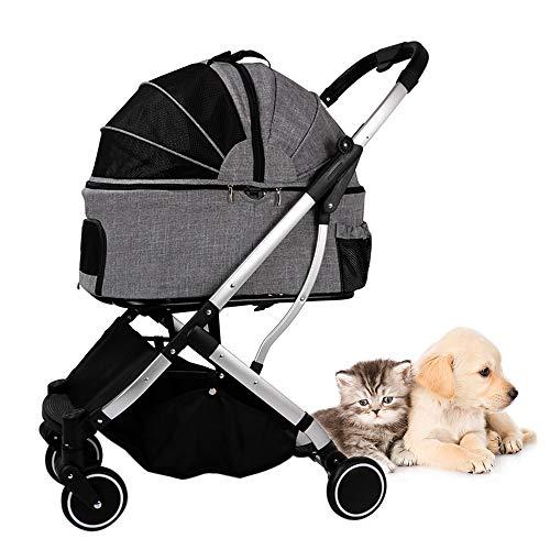 Hylotele Kinderwagen für Katzenhunde Abnehmbarer Käfigwagen Kinderhunde Faltbarer Träger Kinderwagen Vierrad für Haustiere innerhalb von 20 kg Katzenwagen