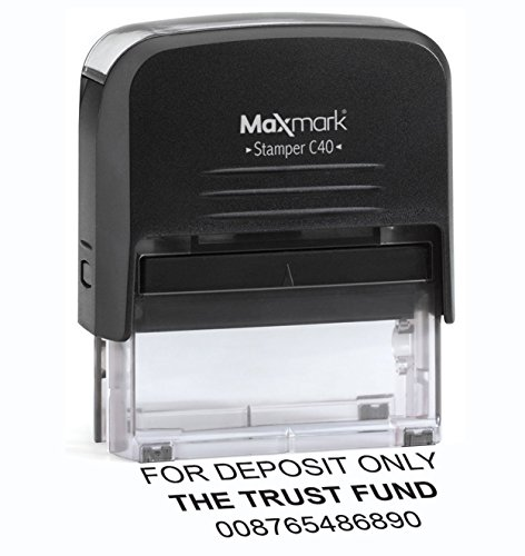 Bank Deposit Stamp - Large Size 3-Line Self Inking Stamp for Check Endorsement - 7/8' x 2-3/8' - Includes Extra Replacement pad $6.95 Value