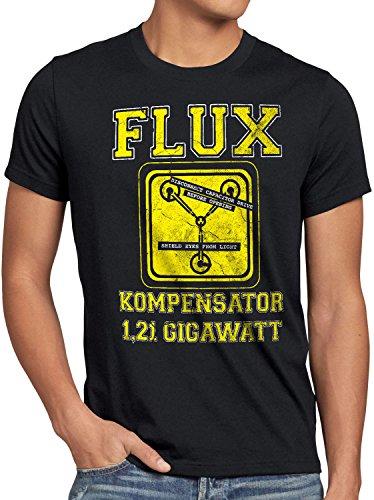 style3 Flux Kompensator Herren T-Shirt McFly Game Gamer Zukunft Zurück Zeitreise, Größe:M;Farbe:Schwarz