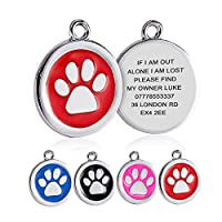 Size: 2.5cm*2.5cm, cute and fit most dog and cat breeds. Paw/Bone shape filled with painting in different colours, adorable and pretty. Easy to attach to your pet's collar, harness and leash for identification. Custom laser engraved for you, up to 4 ...