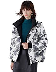 Women's Jacket Gedrukt Down Jacket, Fashionable Hooded Warm 90% Eend onderaan Nieuw Waterdicht winddicht Loose Elegant Dik Afneembare Beneden Travel Down Jacket,XXL