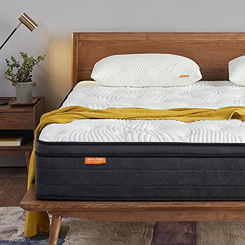 Sweetnight King Size Mattress 5FT Gel Memory Foam Sprung Mattress 10 Inch Spring Hybrid Breathable Mattress King Bed, Motion Isolating Individually Wrapped Coils, Medium-Firm Feel, 150x200x25 cm