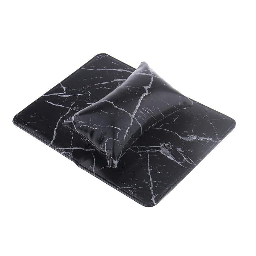 複製する南アメリカ不調和ネイルアート ハンドクッション ピロー 枕 柔らかい 折り畳み式パッド 防水性 2色選べ - ブラック