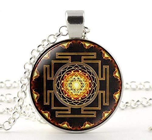 Sri Yantra Colgante de geometría sagrada budista, joyería de geometría sagrada, antigua mandala antigua, collar de Sri Yantra, budista