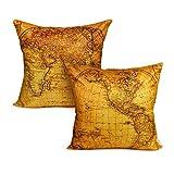 Luxbon Set of 2 PCS World Map Design Cushion Covers 18x18 Sofa Throw Pillowcase 45x45cm Cotton Linen Cushion Case Covers Room Home Decors - Western & Eastern Hemisphere Map Pattern