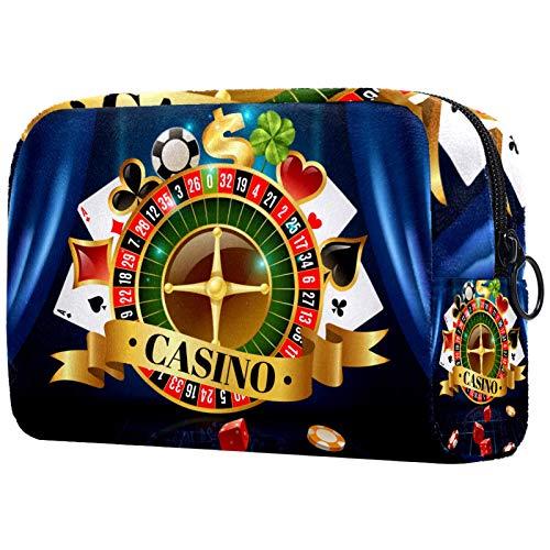 Bolsa de maquillaje personalizada para brochas de maquillaje portátil para mujer, bolso de mano, organizador de viaje de casino, juegos de noche, dados jugando a las cartas, símbolos