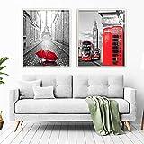 Cuadros decoración salón o dormitorio moderno. 2 cuadros con Marco. Personalizado. Díptico, 'Cabina Roja'· Elige tamaño y color del marco. Hecho en España (A4 (21 x 29,7cm ), MARCO NATURAL / BEIGE)