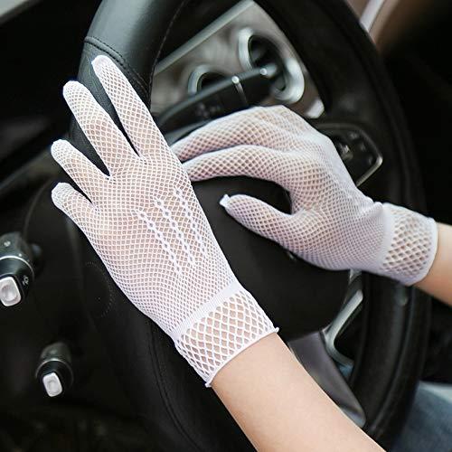 WANGY Guantes MujerMalla Negro Blanco Guantes de conducción AntiProtector Solar Dedos completos Lady Dance Gloves