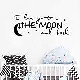 JXCDNB Texte Romantique Stickers muraux Stickers Je t'aime à la Lune allers-retours...