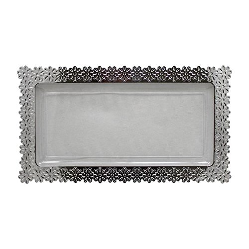 6 - Pack Exquisite Plastic Clear Plate With Silver Edged Flower Plastic Serving Tray, Large - 9 Inch. x 15.5 Inch.)