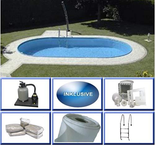 Summer Fun Stahlwandbecken Set Rhodos Exklusiv oval 3,20m x 6,00m x 1,50m Folie 0,6mm Super Komplettset Pool Ovalpool / 320 x 600 x 150 cm Stahlwandpool