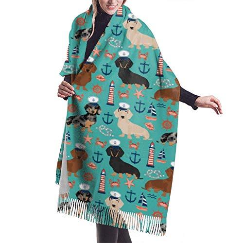 Bufandas de gran tamaño con diseño de perro náutico de marineros de Dachshund, bufanda de viaje de manta de abrigo de chal de Pashmina