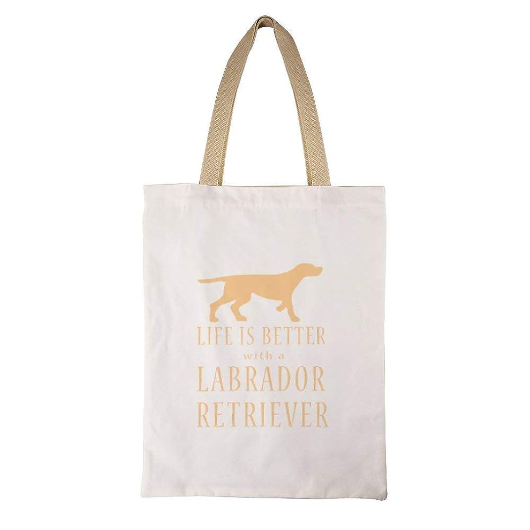 ツイン猟犬小数Life Is Better With A Labrador レディース キャンバストートバッグ ハンドバッグキャンバスショルダーバッグ通勤通学 大容量 軽量