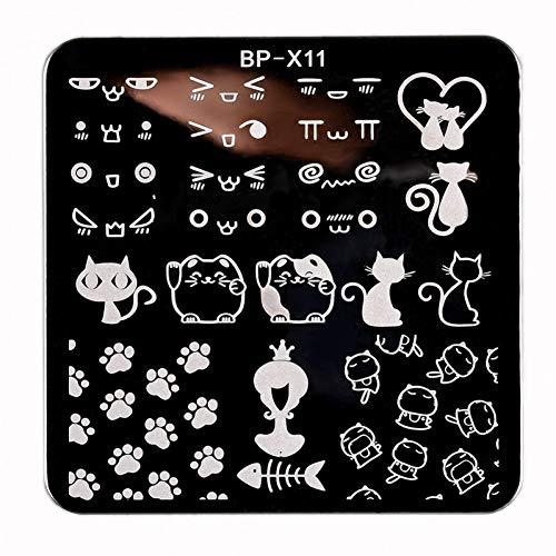 WXHBNF Autocollant D'Ongle 6 * 6 Cm Square Nail Art Stamping Template Chat Mignon Design Patte Image Plaque d'impression Manucure Art Pochoir