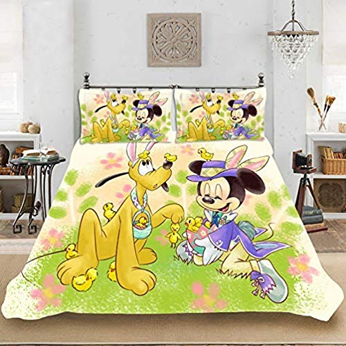 WTTING Disney Mickey & Minnie - Funda de edredón de microfibra, diseño de Disney con dibujos animados en 3D, para cama individual, doble, King (200 x 200 cm)