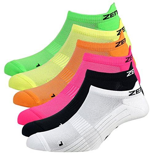 Zen Core Sneaker Füßlinge 6 Paare, Größe 35-37 und 38-41 für Damen, kurze Socken, Sport&Freizeit, Laufsocken, Fitness, Fahrradfahren, Running Socken, Atmungsaktiv, Gepolstert, Antiblasen