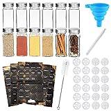 RUBY Bote Especias Cristal Botes Especieros 120ML Tarros Especias Set Etiquetas Botes Cocina,Frascos Especias Botes Cristal Cuadrados para Cocinar 12 Piezas