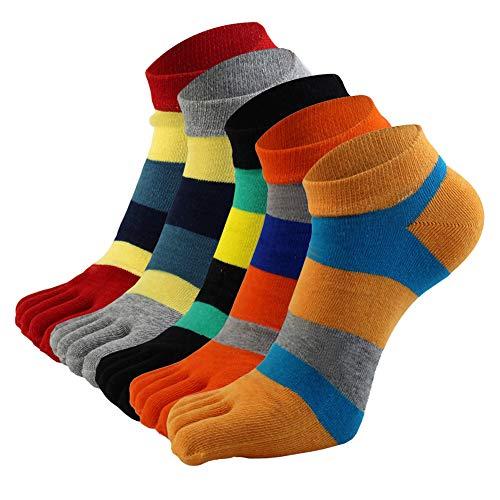 AIEOE 5 Paar Herren Fünf-Finger-Socken Freizeit Sport Sneaker Zehensocken Bunte Streifen Low Rise Socken