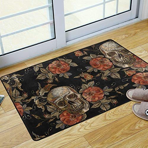 S Husky Skull Flowers Welcome Door Mat Halloween Gothic Area Rug for Bathroom Washable Bath Mat for Kitchen Outdoor Porch Laundry Room 36 x 24 in 2042512