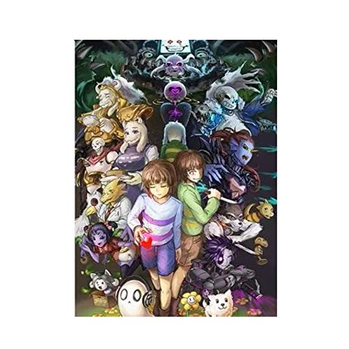 ZDFDC Anime Undertale Sans Frisk Flowey Chara Poster Canvas Printing Painting Wall Art for Living Room Bedroom Decor-50x70cm No Frame