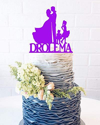 8 Silueta de baile Novia y Novio de boda Cake Topper Familia Silueta Pastel Apellido Novio Bailando Cake Topper Familia Boda