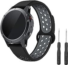 LDFAS Fenix 5/6 Band, Soft Silicone Sport 22mm Quick Fit Watch Strap Compatible for Garmin Instinct/Fenix 5 Plus/Fenix 6 Pro/Forerunner 935/945 Smartwatch,Black/Gray