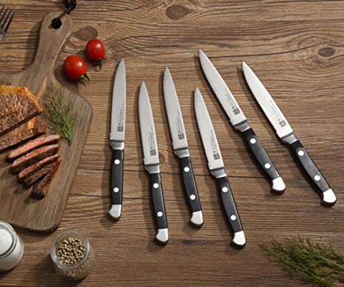 Lief + Svein German Steel Steak Knife Set. 6 Pc Steak knives with block. Premium 1.4116 Stainless Steel Knives with highly polished handles. Sharp serrated steak knives set of 6. Best Steak Knifes.