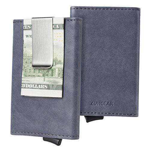 Minimalista Cartera Hombre RFID Tarjetero Cuero con Clip de Billetes, Mini Fundas para DNI, Tarjeta de Crédito, Carnet de Conducir, Gris Níquel