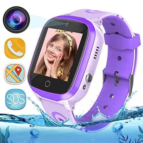 Bambini Smartwatch IP67 Impermeabile - WiFi + GPS + LBS Tracker Smart Watch con Contapassi Gao Fence Chiamata SOS Chat Vocale Camera Gioco per Ragazzi Ragazze Età 3-12 (Viola)