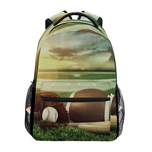 TIZORAX Baseballschläger und Handschuhe in Field Sunset Rucksack Schulranzen Segeltuch Wandern Reise Rucksack