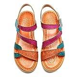 gracosy Sandalias Cuero Planas Verano Mujer Estilo Bohemia Zapatos para Mujer de Dedo Sandalias Talla Grande 37-42 Chanclas Romanas de Mujer Rojo Azul Púrpura Naranja Hecho a Mano Los Zapatos 2019