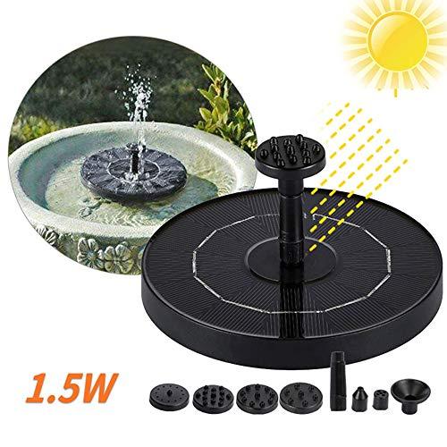 Lixada Solar Springbrunnen Pumpe, Solarbetrieben Wasser Brunnen Panel 1.0 W/1.5W/2.7W 4 verschiedenen Spray Köpfe,Outdoor Bewässerung Tauchpumpe für Vogel Bad,Teich, Aquarium, Garten Dekoration