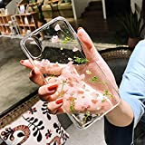 Mydio Case-Case for Apple iPhone X 5.8 inch -Real Flower Case - Made with Real Flowers - Slim Protective Design -Durable Shockproof TPU Frame and PC Back Protective(Lucky Flower)