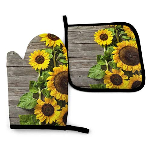 VGFJHNDF Plants Theme Sunflower Oven Mitts and Pot Holders,Resistant Hot Pads with Polyester Non-Slip BBQ Gloves for Kitchen,Cooking,Baking,Grilling