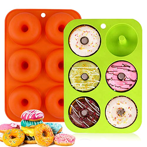 WELLXUNK Silikon Donut Formen,2 Stuck 6 Hohlraum Antihaft Donut Backblech Donut Maker,für Kuchen Keks Bagels Muffins,Geeignet für Geschirrspüler,Backofen,Mikrowelle,Kühlschrank