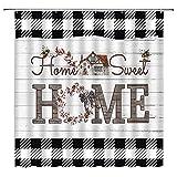 BYLLLFIR Buffalo Duschvorhang, Karomuster, süßes Bienen-Bauernhaus auf rustikalen Planken, schwarz-weiß karierter Druck, Dekor, Stoff-Badezimmer-Set mit Haken, 177 x 178 cm, Sweet Home