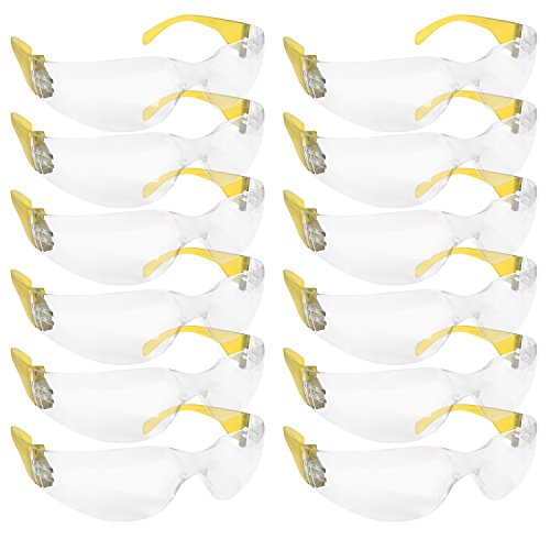 BISON LIFE Clear Lens Color Temple Safety Glasses | One Size, Adult, Youth, Clear Protective Polycarbonate Lens Color Temple, YELLOW, 12 per Box (1 box)