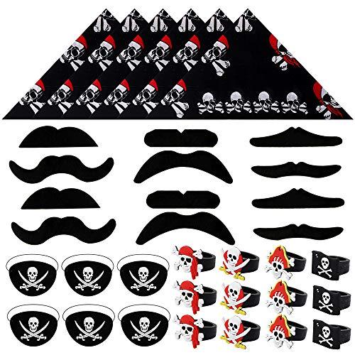 BAKHK 36 Stück Piraten Kindergeburtstag Piraten Zubehör Set Piraten Augenklappe Kopftuch Bandana Gefälschter Schnurrbart Ring für Halloween Partys Karneval