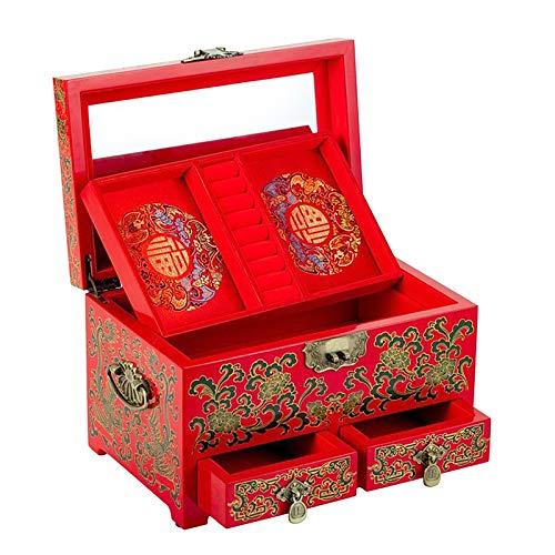 Duan hai rong Joyero de Madera Vintage, Caja del Tesoro de Recuerdo con Espejo para Pulseras Pendientes
