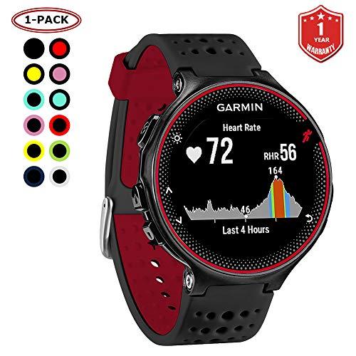 FunBand kompatibel mit Garmin Forerunner 235 Armband, Silikon Replacement Uhrenarmband für Garmin Forerunner 235/235 Lite/220/230/620/630/735XT/Approach S20/S5/S6 Smart Watch (Schwarz&Rot)